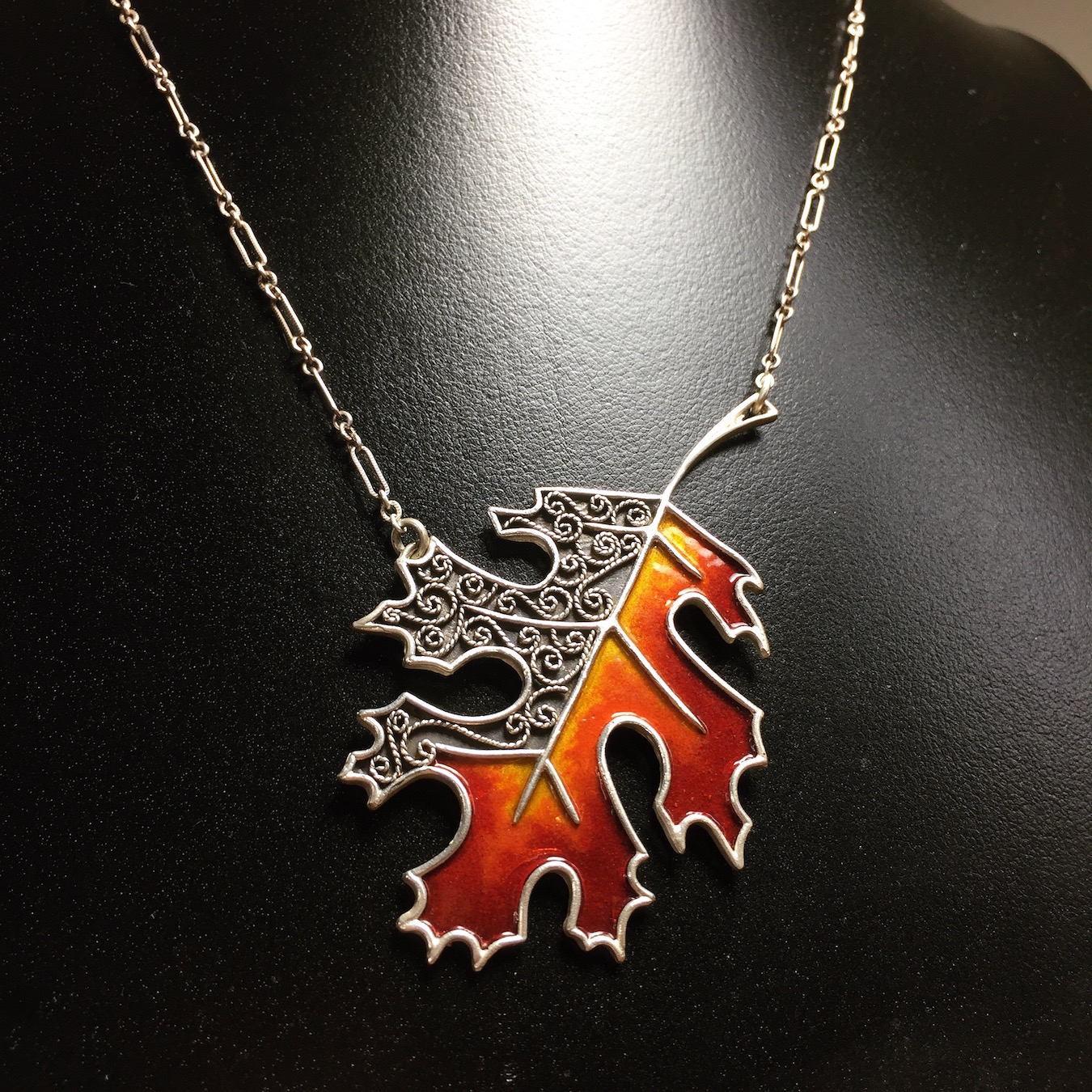 handmade-jewelry-asheville-autumn-leaf-nora-julia-necklace-enamel-silver
